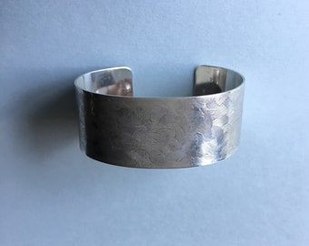 Sterling silver wide cuff bracelet textured large woman or small- medium man