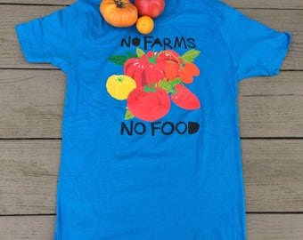 Organic Cotton Unisex No Farms No Food T-Shirt, Farmers Market, Organic Farming,  Free seeds! Gardening Gift