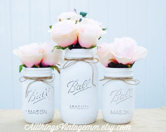 Set of 3 painted mason jars, 1 quart size and 2 pint size,white Mason jar decor, Mason jar centerpiece,farmhouse decor,rustic home decor