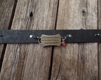 Inspirational Woman Faux Leather Cuff Bracelet