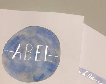 Custom Name Card (Watercolour Circle)
