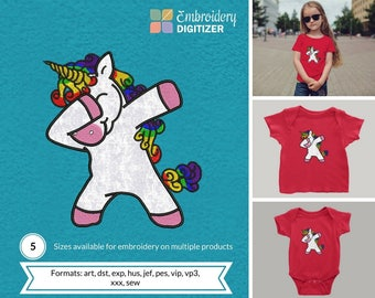 Unicorn Dabbing Einhorn Applique Embroidery Design