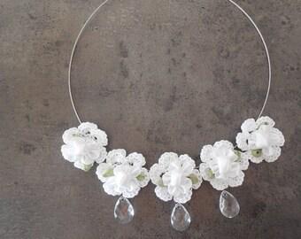 Crochet Lace Flower Choker Necklace