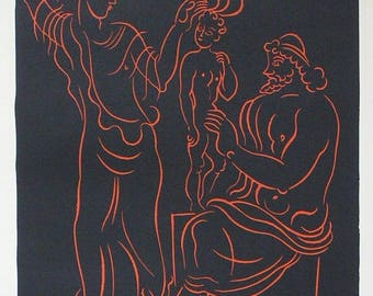 Lenfant by ANDRE DERAIN 1880-1954 Original Wood Engraving Print with COA