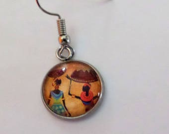 """earring sold A PIECE """"African"""" glass cabochon"""