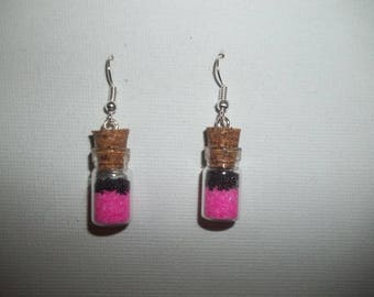 Earrings pink and black glass jars
