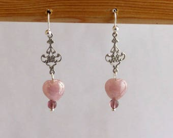 Earrings dangle glass heart