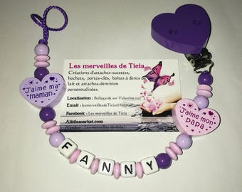 "Pacifier clip personalized ""I love my mommy/Daddy"""