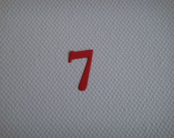"""Set of 10 numbers """"7"""" in red design for creating paper"""