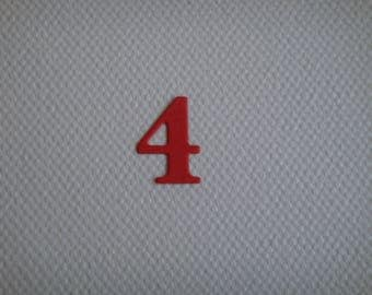 "Set of 10 numbers ""4"" for creating red drawing paper"