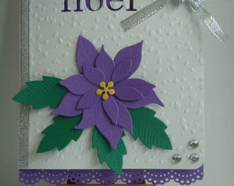 """Merry Christmas"" embossed poinsettia flower purple make you even snow card Kit"