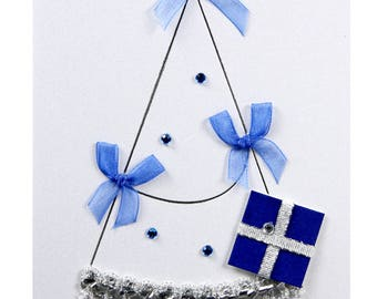 Christmas card / new year tree with blue gifts