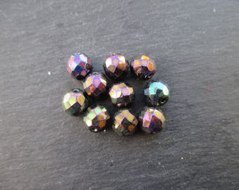 Faceted 10 mm: 8 beads purple iris Bohemian-