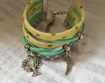Jewelry Ribbon cuff Bracelets and charms green yellow tone