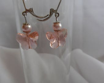 Powder Pink Stud Earrings, Crystal on lever backs.
