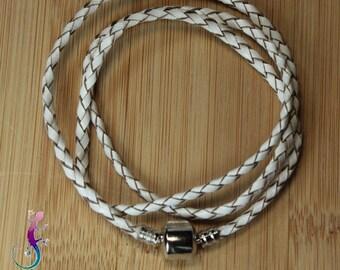 2 European bracelets 3 rounds white braided genuine leather cord