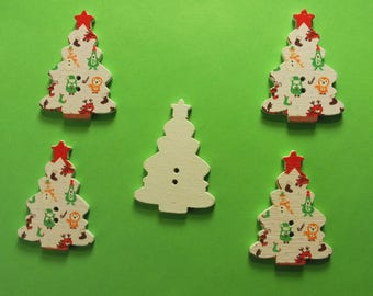LOT 5 wood buttons: Christmas tree 25 * 35 mm (No. 01)