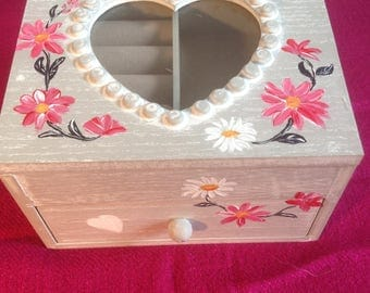 Jewelry box wood with gray repaints drawer limed and floral pattern - mother's day