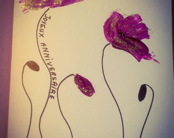Greeting card birthday glitter gold - purple poppies hand painted