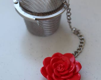 Filter tea, red, small Camellia flower pot