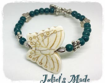 Silver Butterfly bracelet howlite and teal wooden beads