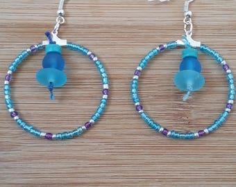 Blue, glass seed beads earrings