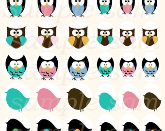 60 Digital pictures Owls and Birds 13-18mm / 18-25mm / 20mm / 25mm