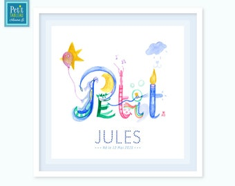 SMALL - Personalized name painting framed - gift - decor nursery child