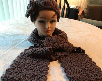 Stage Mom Crochet Winter Hat and Scarf True Taupe