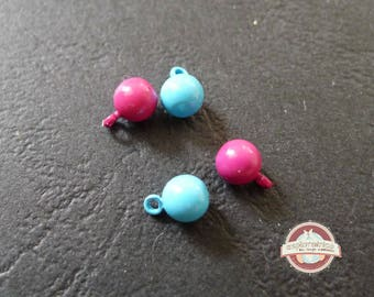 4 balls charms drops ethnic 5 x 8 Mm Blue rose Charms