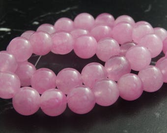 10 pink Jade beads 10mm ref 144 baby