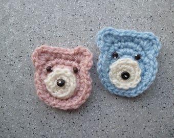 2 miniature bear crochet wool and beads