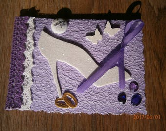 "Card congratulations on purple ""Tie and shoes"", wedding"