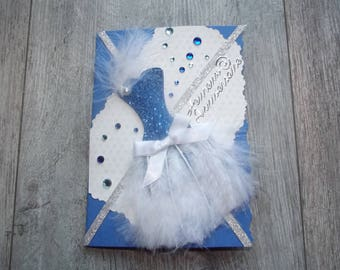 "Birthday collection card ""Feather dress"" blue"