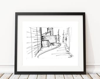 Unique Architectural Sketch | Original artwork | Architectural drawing | Modern Architecture | Pen and Ink by hand | 8x10 Wall Print
