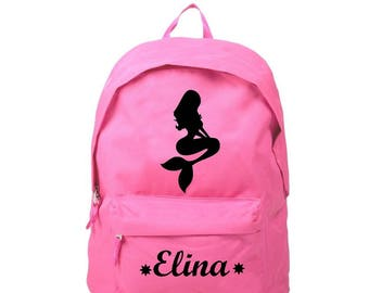 Backpack pink Mermaid personalized with name