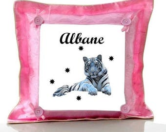 Cushion Pink White Tiger personalized with name