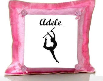 Cushion Pink cheerleader personalized with name
