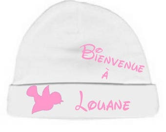 Personalized with name White welcome baby bonnet