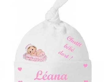 Baby Shush baby knot Hat comes personalized with name