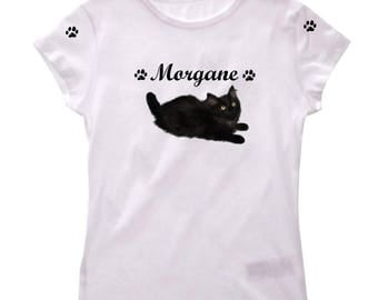 Girl kitten personalized with name t-shirt