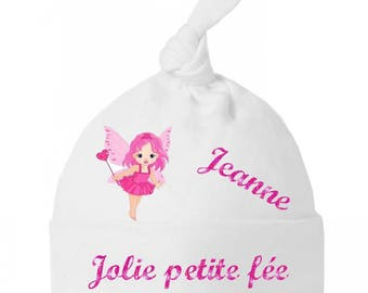 Personalized with name bow pretty little fairy baby bonnet