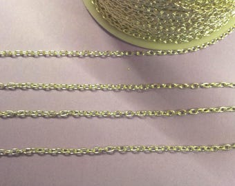 3 meters of silver chain oval links - fine mesh T19