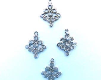 Set of 20 charms connectors pendants silver Argyle T31
