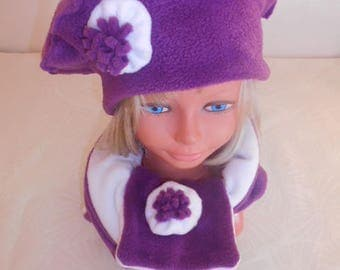 Hat and scarf kitortille while fleece for baby girl purple and white decorated with flower