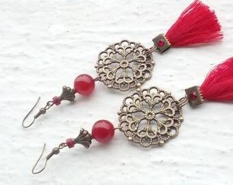 Earrings: Prints - tassels and red stones
