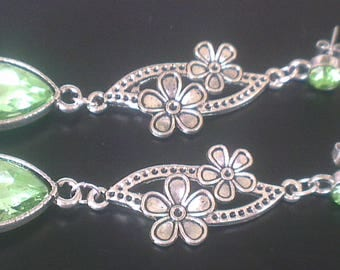 Earrings: Peridot Crystal and flowers