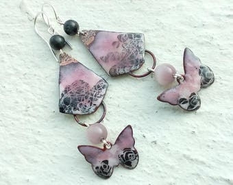 Black Lace on background pink - enameled copper