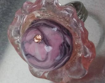 Silver ring: rose - peach and plum