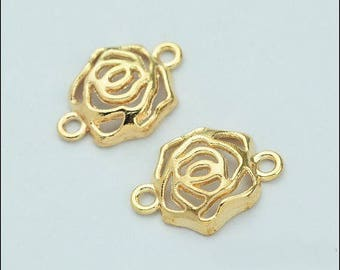 5 charms, connectors in the shape of rose colored gold 20 * 15mm